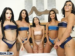 Five tranny latina babes and one guy gangbang group sex porn